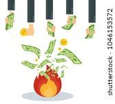 cash flow. banknotes fly away... | Shutterstock .eps vector #1046153572
