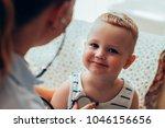 portrait of little caucasian... | Shutterstock . vector #1046156656