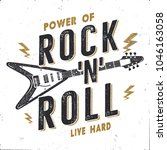 vintage hand drawn rock n roll... | Shutterstock .eps vector #1046163058
