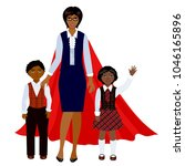 superhero mother with two... | Shutterstock .eps vector #1046165896