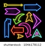 neon glowing arrow pointer set  ... | Shutterstock .eps vector #1046178112