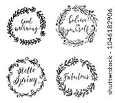 hand drawn simple floral...   Shutterstock .eps vector #1046182906