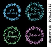 hand drawn simple floral...   Shutterstock .eps vector #1046182912