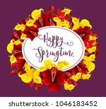 happy springtime greeting card... | Shutterstock .eps vector #1046183452