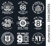 new york  brooklyn typography.... | Shutterstock .eps vector #1046186056