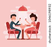 romantic dinner a couple of... | Shutterstock .eps vector #1046198932