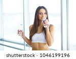 healthy lifestyle. happy woman... | Shutterstock . vector #1046199196