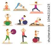 fitness pregnancy vector... | Shutterstock .eps vector #1046211625