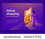 Sale, consumerism and people concept. Young woman shop online using smartphone. Landing page template. 3d vector isometric illustration. | Shutterstock vector #1046217532