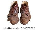 Old Worn Out  Boots  Isolated...