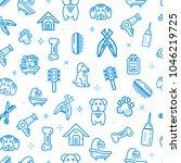 Stock vector pet shop vector seamless pattern dog supplies line icons design 1046219725