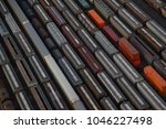 photo aerial of train carriages ... | Shutterstock . vector #1046227498
