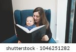 mother reading a book to her...   Shutterstock . vector #1046251282