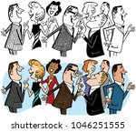 a crowd of people talking at a... | Shutterstock .eps vector #1046251555