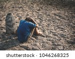 sad boy tired and exhausted on... | Shutterstock . vector #1046268325