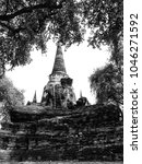Small photo of Blank and white - Landscape Ayutthaya Historical Park in Ayutthaya. The famous temple of the equivalent human Thailand.