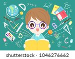 cute cartoon boy student read... | Shutterstock . vector #1046276662
