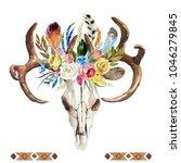 watercolor floral boho... | Shutterstock . vector #1046279845