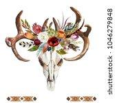 watercolor floral boho... | Shutterstock . vector #1046279848