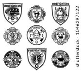 set of firefighter emblems on... | Shutterstock .eps vector #1046297122