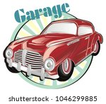 red classic car and banner with ... | Shutterstock . vector #1046299885