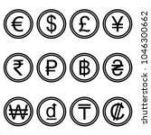 Stock vector currency symbols icons simple black and white colored set a set of currency symbols used in 1046300662