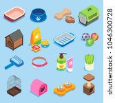 pet store icon set. flat... | Shutterstock . vector #1046300728