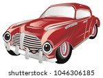 smiling red old car | Shutterstock . vector #1046306185