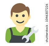 man with spanner showing... | Shutterstock .eps vector #1046307226