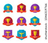 gold champion cup badge set... | Shutterstock .eps vector #1046319766
