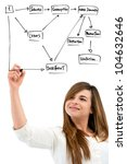 Young woman drawing diagram with marker pen on blank copy space.Isolated. - stock photo