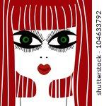 redhead woman profile - stock vector