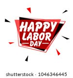 happy labour day  sign with red ... | Shutterstock .eps vector #1046346445