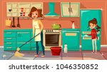vector cartoon mother daughter... | Shutterstock .eps vector #1046350852