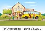 vector cartoon teen kids pupil... | Shutterstock .eps vector #1046351032