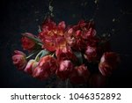 bouquet of flowers on dark... | Shutterstock . vector #1046352892