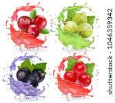 realistic berries in juices...   Shutterstock .eps vector #1046359342