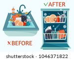 sink and open dishwasher with... | Shutterstock .eps vector #1046371822