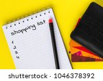 top view of shopping list in... | Shutterstock . vector #1046378392