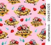 watercolor desserts and berries ... | Shutterstock . vector #1046391325