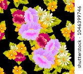 beautiful floral seamless... | Shutterstock .eps vector #1046399746