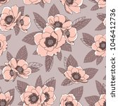 romantic floral pattern with... | Shutterstock .eps vector #1046412736