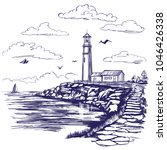 lighthouse and sea landscape... | Shutterstock .eps vector #1046426338