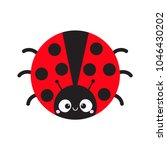 cute cartoon lady bug round... | Shutterstock .eps vector #1046430202
