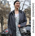 Small photo of PARIS, France- March 06 2018: Irene Kim on the street during the Paris Fashion Week