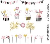 celebratory cakes with set of... | Shutterstock . vector #1046436502