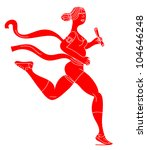 running woman in the finish line | Shutterstock .eps vector #104646248