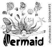 set of mermaid sketches... | Shutterstock .eps vector #1046464495