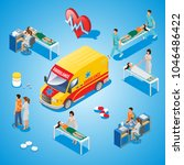isometric medical care... | Shutterstock .eps vector #1046486422