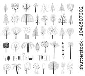 set of forty black and white... | Shutterstock .eps vector #1046507302